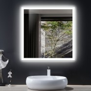 DECORAPORT 36 x 36 Inch LED Bathroom Mirror/Dress Mirror with Infrared Sensor Control, Anti-Fog, Vertical & Horizontal Mount (NG12-3636)