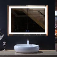 DECORAPORT 48 x 36 Inch LED Bathroom Mirror with Touch Button, Anti Fog, Dimmable, Bluetooth Speakers, Vertical & Horizontal Mount (D222-4836A)