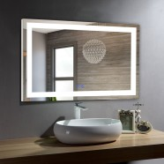 DECORAPORT 40 x 28 Inch LED Bathroom Mirror/Dress Mirror with Touch Button, Anti Fog, Dimmable, Vertical & Horizontal Mount (D210-4028)