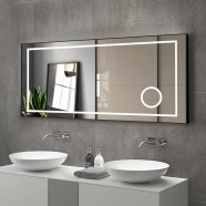 DECORAPORT 60 x 28 Inch LED Bathroom Mirror/Dress Mirror with Touch Button, Magnifier, Anti Fog, Dimmable, Horizontal Mount (KT04-6028)