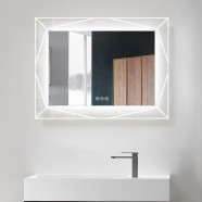 DECORAPORT 36 x 28 Inch LED Bathroom Mirror with Touch Button, Bluetooth Speaker, Tri-Color Lights, Anti-fog, Dimmable, Vertical Mount(D1517-3628AB)