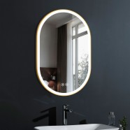 DECORAPORT 24 x 36 Inch LED Bathroom Mirror with Touch Button, Gold Frame, Anti Fog, Dimmable, Vertical & Horizontal Mount (D1301-2436)