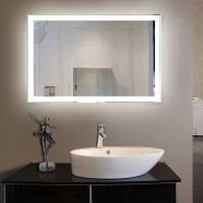 55 x 36 In. Horizontal LED Lighted Bathroom Silvered Mirror, Touch Button (DK-OD-N031-C)