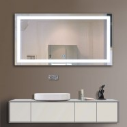 48 x 24 In. Horizontal LED Illuminated Bathroom Silvered Mirror, Touch Button (DK-OD-CK010-E)
