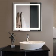 32 x 32 In. LED Illuminated Bathroom Silvered Mirror, Touch Button (DK-OD-CK010-F)
