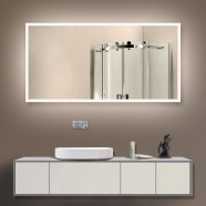 55 x 28 In. Horizontal LED Backlit Bathroom Silvered Mirror, Touch Button (DK-OD-N031-D)