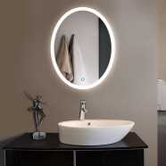24 x 32 In Vertical Oval LED Bathroom Silvered Mirror, Touch Button (DK-OD-CL054)