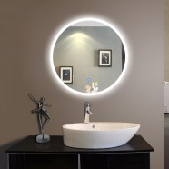 24 x 24 In Round LED Illuminated Bathroom Silvered Mirror, Touch Button (DK-OD-CL065-1)