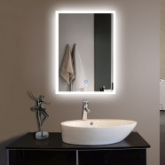 20 x 28 In. Vertical LED Lighted Bathroom Silvered Mirror, Touch Button (DK-OD-N031-H)