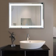 48 x 36 In. Horizontal LED Lighted Bathroom Silvered Mirror, Touch Button (DK-OD-CK010-D)