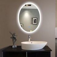 20 x 28 In. Vertical Oval LED Backlit Mirror, Touch Button (DK-OD-CL054-H)