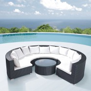 4-Piece PE Rattan Sofa Set: 3 * Curved Corner Sofa, 1 * Coffee Table (LLS-323)