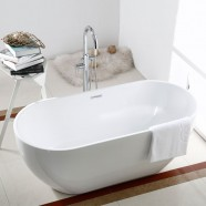 65 In White Acrylic Seamless Freestanding Bathtub (DK-AT-11672)