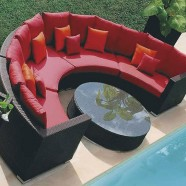 Wicker Patio Sectional with Cushion Insert (JMS-635)