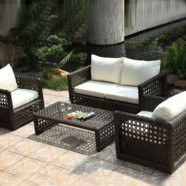 4-Piece PE  Rattan Sofa Set: 1 * Loveseat, 2 * Lounge Chair, 1 * Coffee Table (LLS-358)
