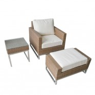 3-Piece PE Rattan Sofa Set: 1 * Coffee Table, 1 * Sofa, 1 * Ottoman (LLS-5001)