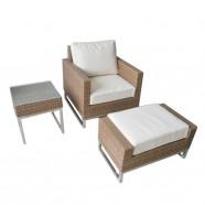 3-Piece PE Rattan Sofa Set: 1 * Coffee Table, 1 * Sofa, 1 * Ottoman (LLS-5001)