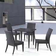 PE Rattan 5 Pieces Dining Set: 1 * Dining Table, 4 * Armless Chair (LLS-6056+1056)
