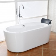 65 In White Acrylic Seamless Freestanding Bathtub (DK-AT-1682)