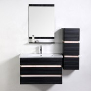 31 In. Wall Mounted Black Bathroom Vanity Set with Single Ceramic Sink and Mirror (VS-8861A)