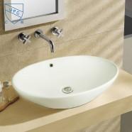 White Oval Ceramic Above Counter Basin (DK-LSE-8018)