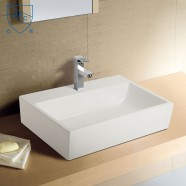White Rectangle Ceramic Above Counter Basin (DK-LSE-8239)
