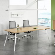 55.1 In Modern Rectangular Conference Table in Oak and White (HM01-1400)