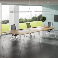 157.5 In Modern Rectangular Conference Table in Oak and White (HM03-4000)