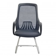 Black Mid-Back Mesh Conference Chair with arm and sled base (YH001B)