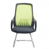 Green Mid-Back Mesh Conference Chair with arm and sled base (YH001G)