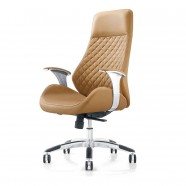 Brown High-Back Executive Chair in Faux Leather with thick padded headrest (CJG-109)