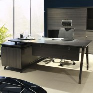 70.9 In Dark Oak L Shape Moderne Executive Desk with Storage Unit (GN86-18)