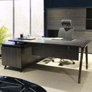 78.7 In Dark Oak L Shape Moderne Executive Desk with Storage Unit (GN86-20)