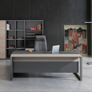 86.6 In Yellow Oak and Grey L Shape Moderne Executive Desk with Storage Unit (GT85-22)