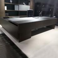 110.2 In Black Oak L Shape Moderne Executive Desk with Storage Unit (WLK85-28)