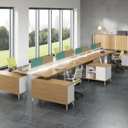 Office Workstation in Oak and White for 8 persons with divider and cabinet (WM58)