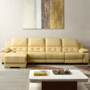 Beige Power-driven Recliner Sectional Sofa in Genuine Leather with Right-facing Chaise (LH-699-1)