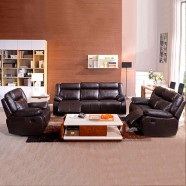 3 - Piece Dark Brown Manual Reclining Sofa Set with 6 Seats in Faux Leather (LH-905B)