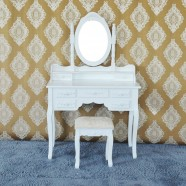 White Bedroom Makeup Vanity Set with Mirror and Stool (JI3185)