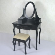 Black Bedroom Makeup Vanity Set with Mirror and Stool (JI3305)