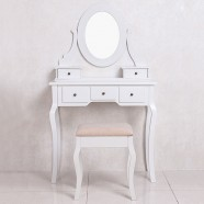 White Bedroom Makeup Vanity Set with Mirror and Stool (JI13004)