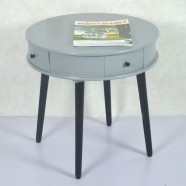 22.0''D Round Grey Wood Coffee Table with 4 Drawers (JI3293)