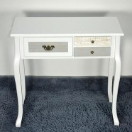 31.5''W White Console Table with 3 Drawers (JI3242)