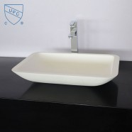 White Artificial Stone Above Counter Bathroom Vessel Sink (DK-HB9002)