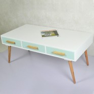 47.2''W Rectangular White Wood Coffee Table with 3 Drawers (JI3298)