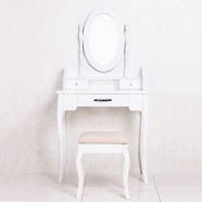 White Bedroom Makeup Vanity Set with Mirror and Stool (JI3239)