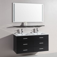 48 In. Wall-Mount Bathroom Vanity Set with Double Sinks and Mirror (DK-T9126B)