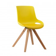 Molded Plastic Chair in Yellow with Wood Legs - Set of 4 (YMG-9305C-1)