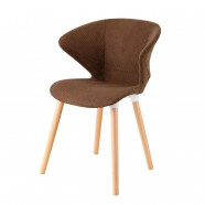 Upholstered Brown Arm Chair with Wood Legs - (YMG-SM9302A)