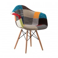 Upholstered Arm Chair with Wood Legs - (YMG-BJ9206)